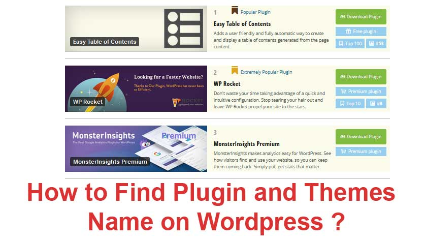 search plugin and themes names from wordpress sites