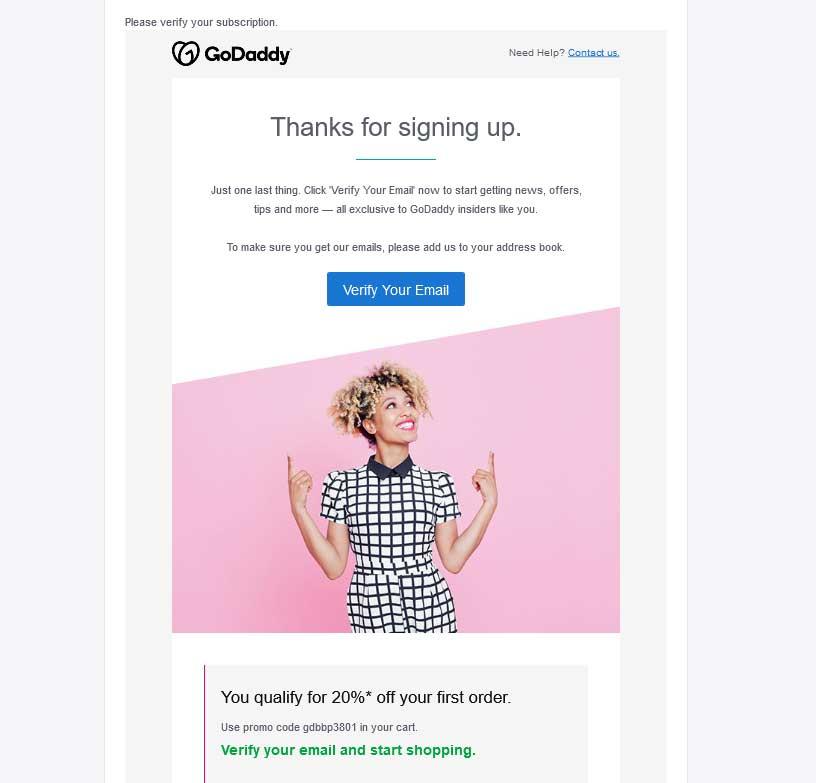 godaddy newsletter email verify